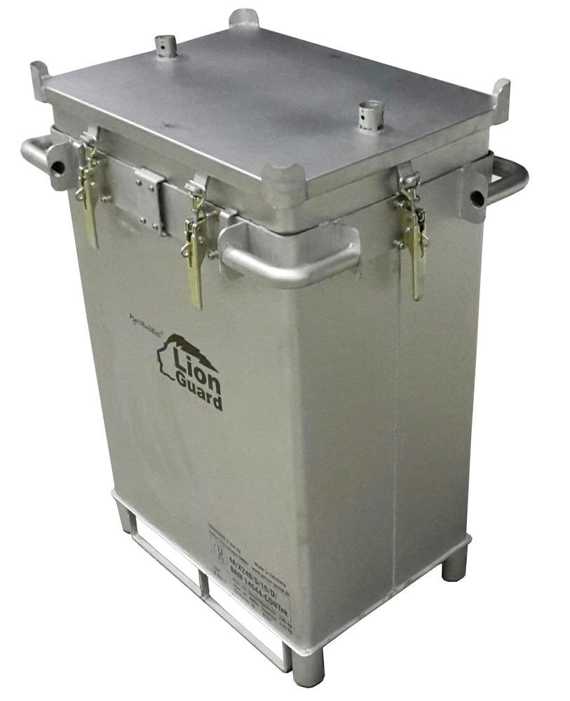 Lithium-ion battery transport box in stainless steel, 309 l, S-Box X2, filling PyroBubbles® - 1