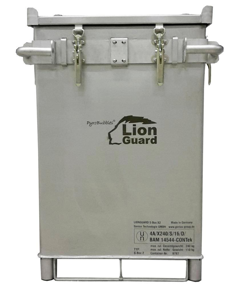 Lithium-ion battery transport box in stainless steel, 309 l, S-Box X2, filling PyroBubbles® - 2