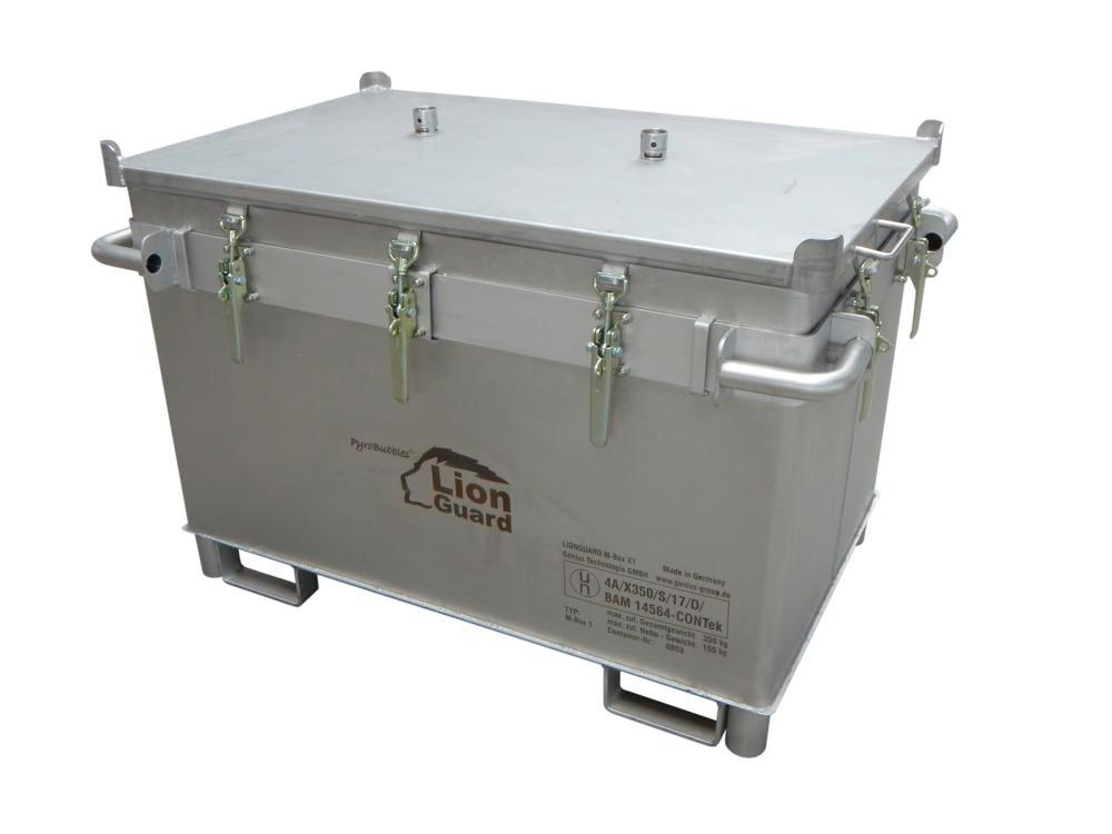 Lithium-ion battery transport box in stainless steel, 466 l, M-Box X1, filling PyroBubbles® - 1