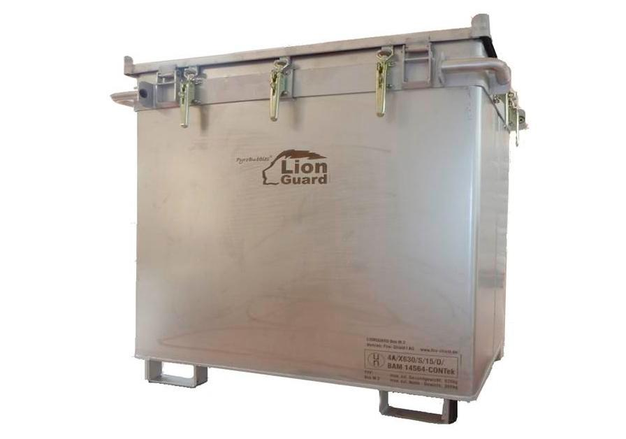Lithium-ion battery transport box in stainless steel, 800 l, M-Box X2, filling PyroBubbles®