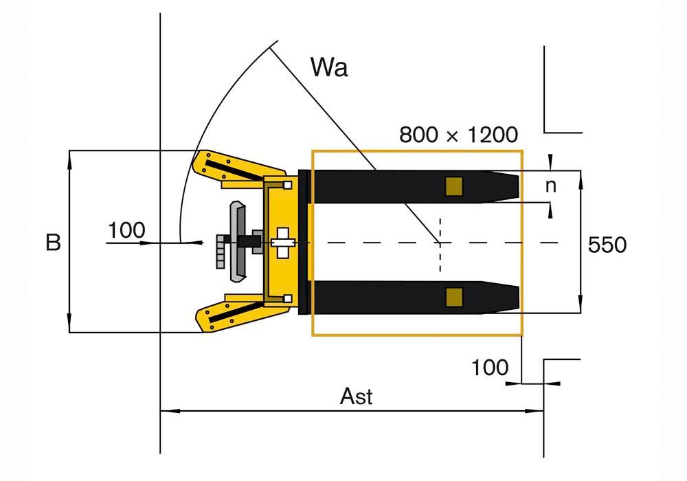 Manual stacker HD 10, with safety grid, foot guards and brakes, load 1000 kg, fork width 160 mm - 5