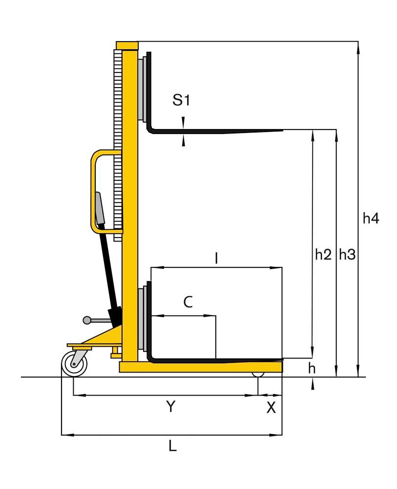 Manual stacker HD 10, with safety grid, foot guards and brakes, load 1000 kg, fork width 160 mm
