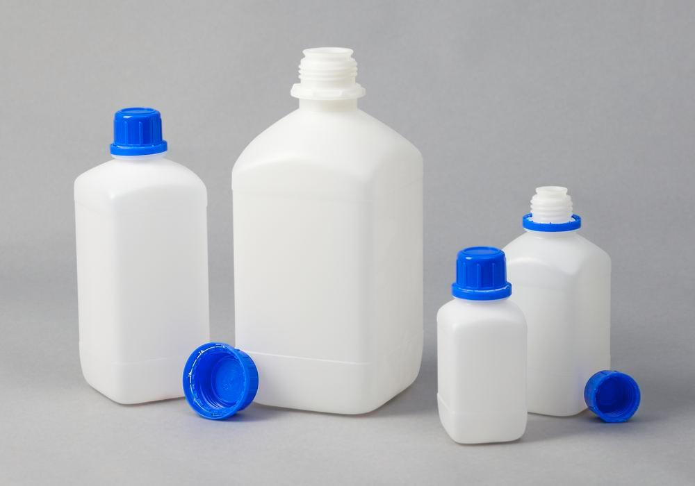 Narrow necked bottles in HDPE, square, natural-transparent, 1000 ml, 12 pieces
