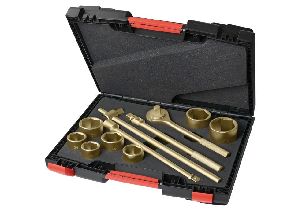 "Ratchet set 3/4"",12 piece, 36-60 mm, special bronze, spark-free, for Ex zones"