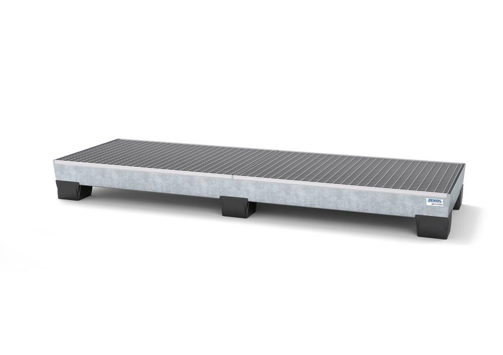 Spill pallet pro-line in steel for 4 drums, galvanised accessible underneath with grid, 816x2470x250