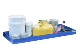 Spill tray for small containers classic-line in steel, painted, 20 litre, 987x400x75-w280px