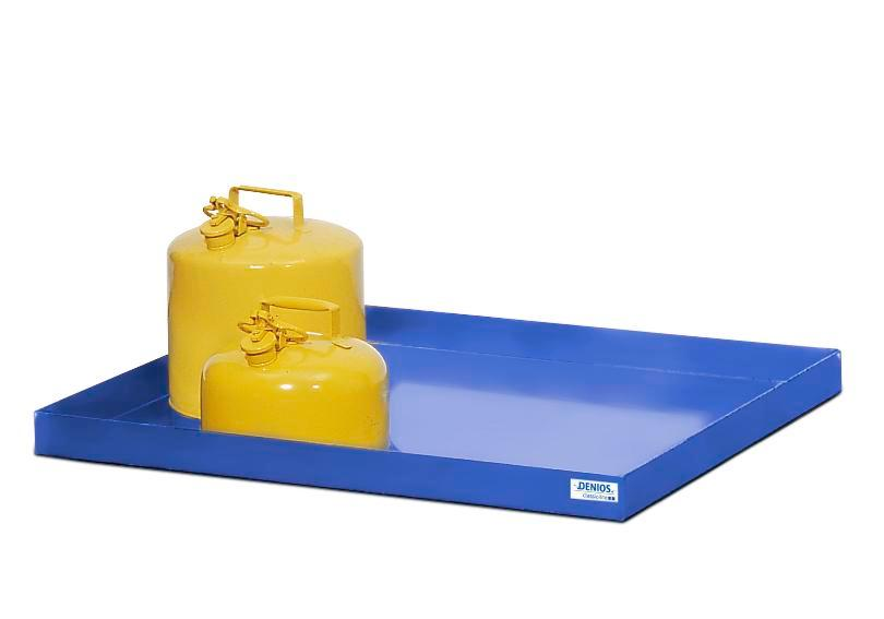 Spill tray for small containers classic-line in steel, painted, 40 litre, 1287x600x75 - 1