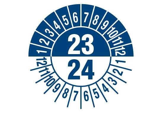 "Test sticker ""23/ 24"", blue, film 30mm, sheet/15 stickers"