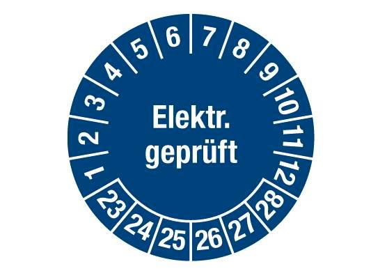 "Test sticker ""Electr. tested"", 2023 blue, film 30mm, sheet/15 stickers"