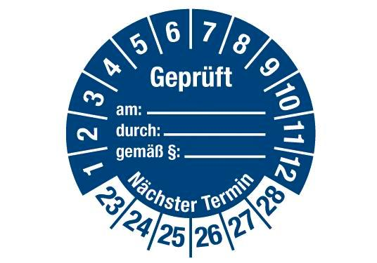 "Test sticker ""Tested on, by, using §, next date"", 2023 blue, film 30mm, sheet/15 stickers"