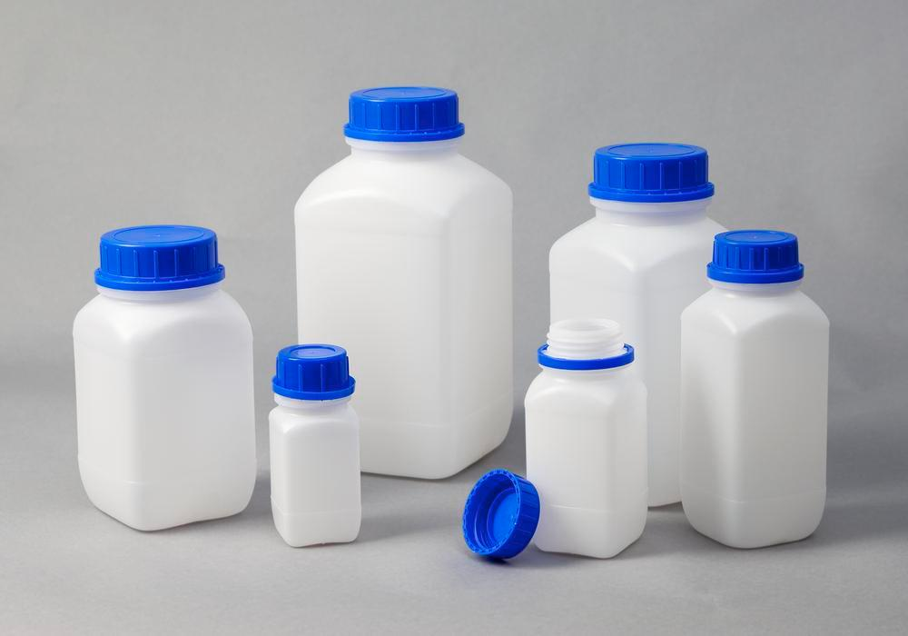 Wide necked bottles in HDPE, square, natural-transparent, 250 ml, with UN approval, 30 pieces - 5