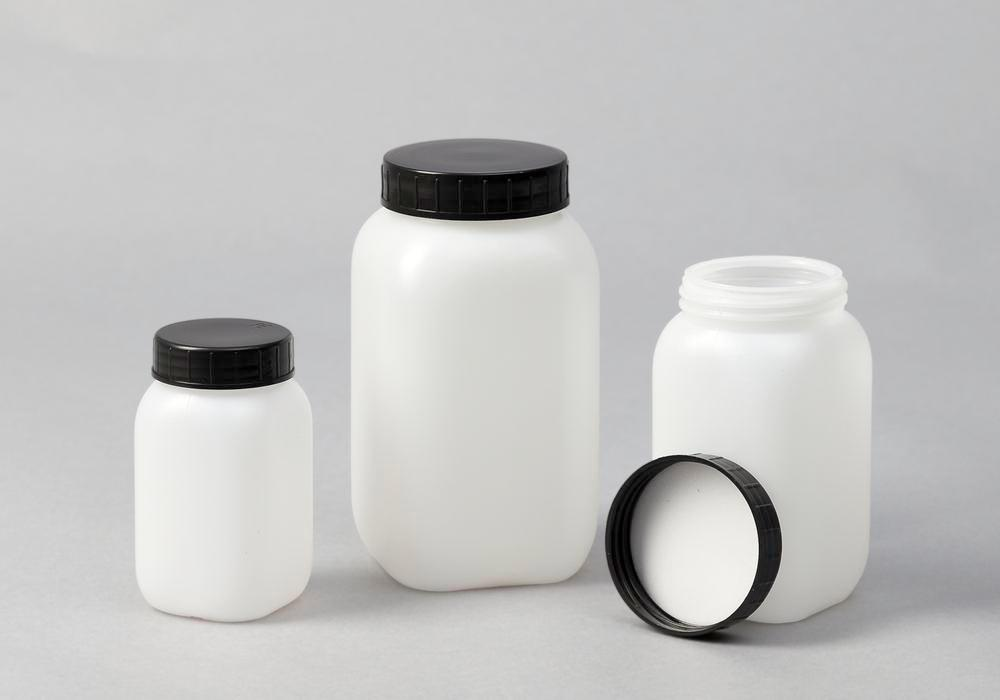 Wide necked bottles in HDPE, square, natural-transparent, 500 ml, 20 pieces