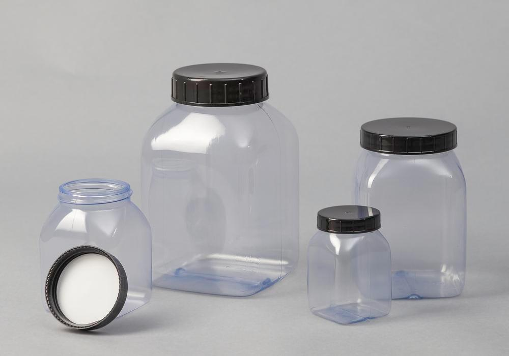 Wide necked bottles in PVC, square, natural-transparent, 1000 ml, 16 pieces