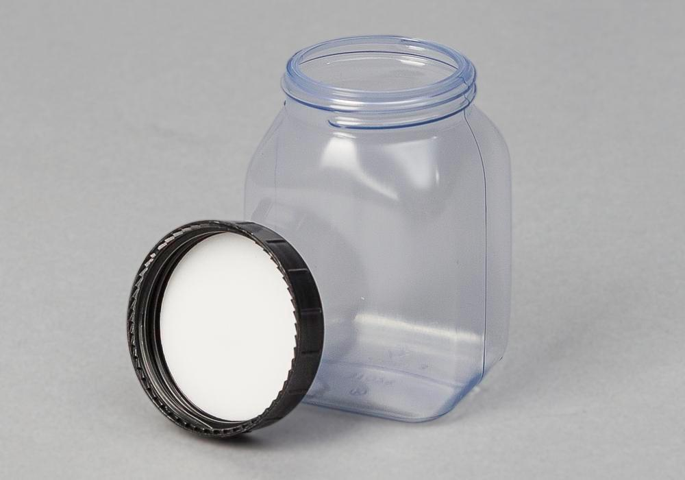 Wide necked bottles in PVC, square, natural-transparent, 200 ml, 24 pieces - 1