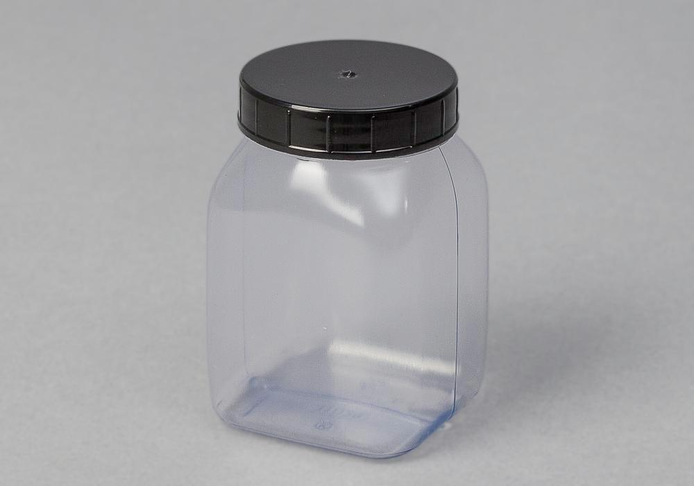 Wide necked bottles in PVC, square, natural-transparent, 200 ml, 24 pieces