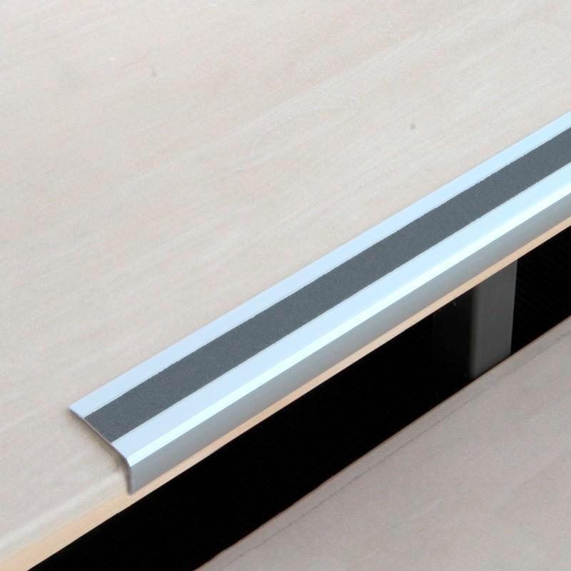 Anti-slip edge profile, aluminium m2, Easy Clean, grey, W 610 mm, thickness 4 mm - 1