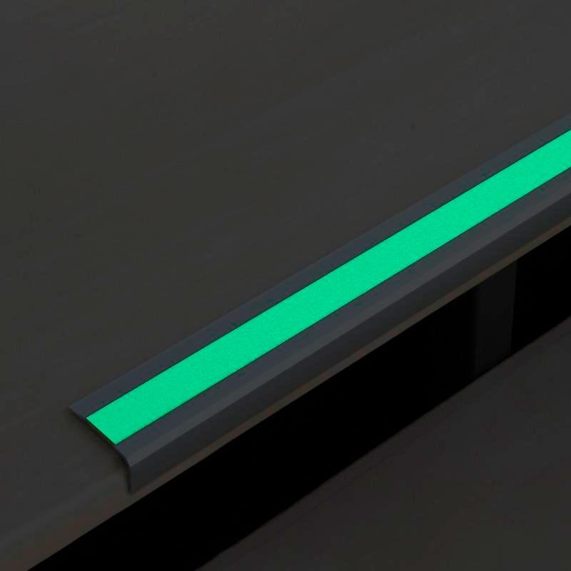Anti-slip edge profile, aluminium m2, Easy Clean, luminescent, W 1000 mm, adhesive
