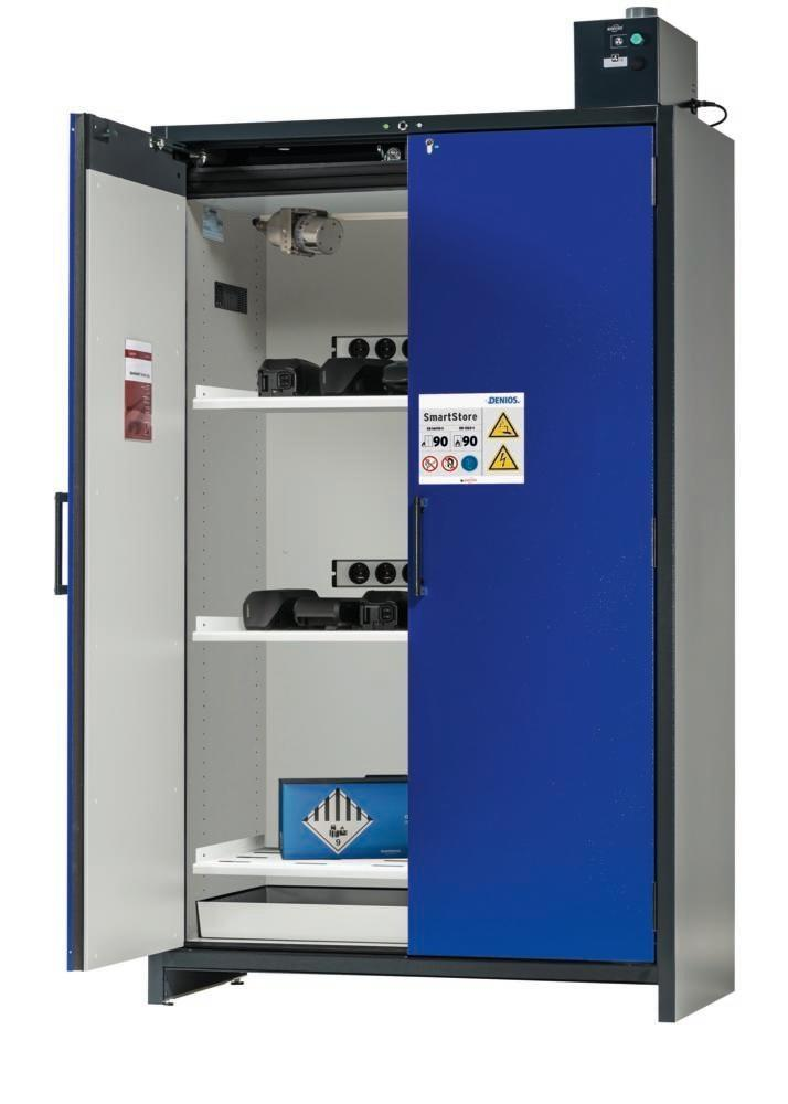 asecos Lithium-ion battery charging cabinet SmartStore-UK, 3 shelves, W 1200 mm