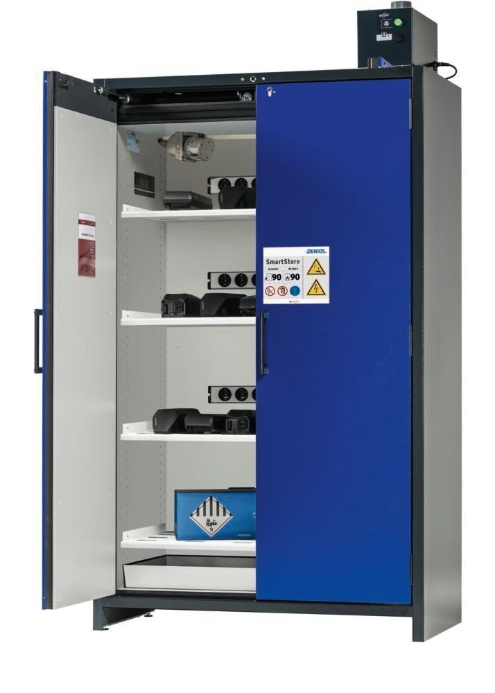 asecos Lithium-ion battery charging cabinet SmartStore-UK, 4 shelves, W 1200 mm