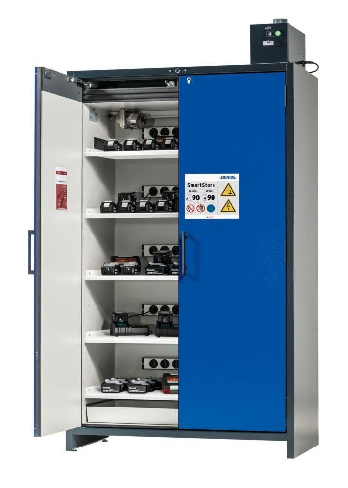 asecos Lithium-ion battery charging cabinet SmartStore-UK, 5 shelves, W 1200 mm