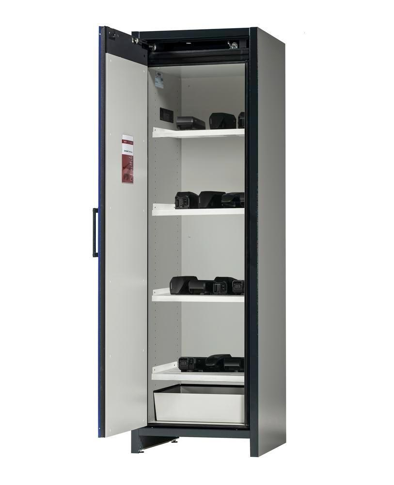 asecos Lithium-ion battery storage cabinet SafeStore, 4 shelves, W 600 mm
