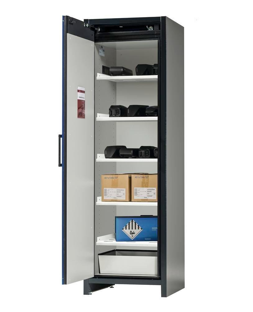 asecos Lithium-ion battery storage cabinet SafeStore, 5 shelves, W 600 mm