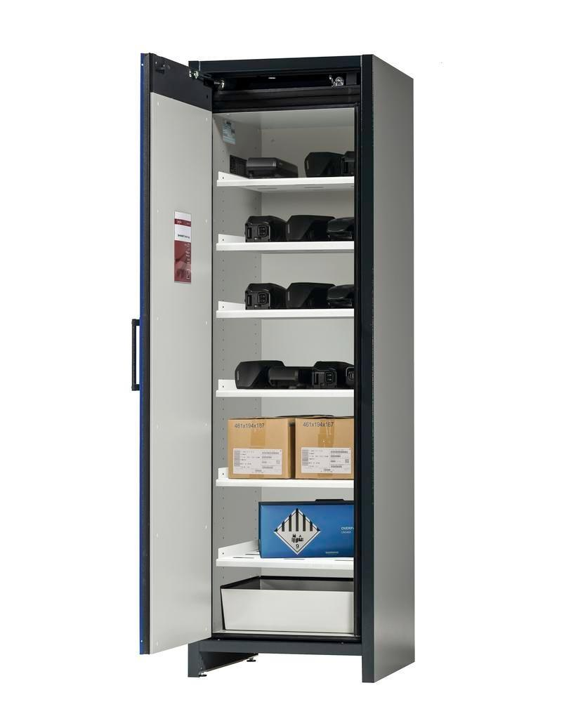 asecos Lithium-ion battery storage cabinet SafeStore, 6 shelves, W 600 mm