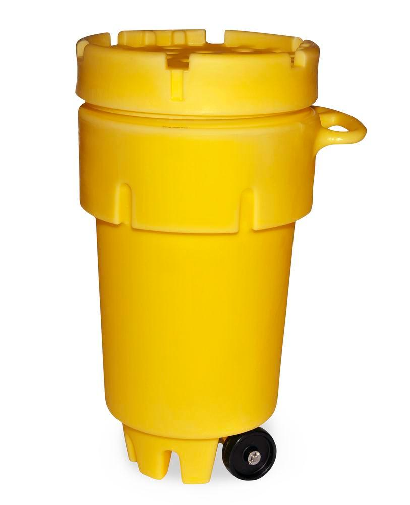 Drum overpack in polyethylene (PE), with castors, UN approval and screw lid, 189 litre volume