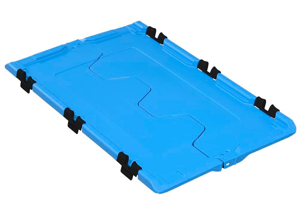 Folding lid for reusable stacking container classic-line D, 610 x 400 x 40 mm, blue, Pack = 2 pcs - 1