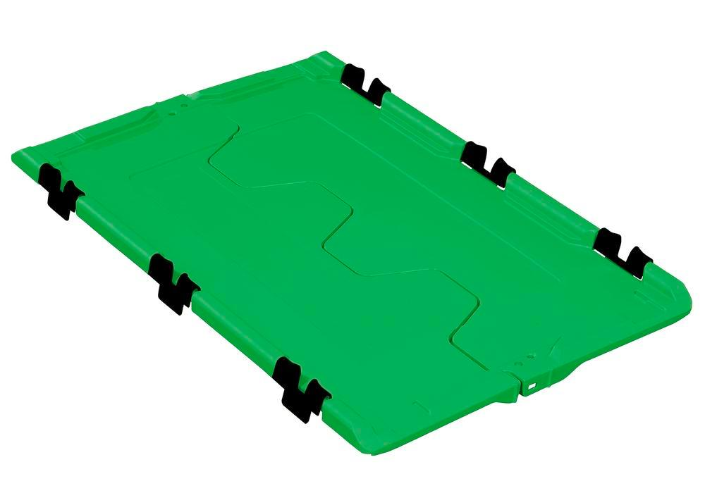 Folding lid for reusable stacking container classic-line D, 610 x 400 x 40 mm, green, Pack = 2 pcs