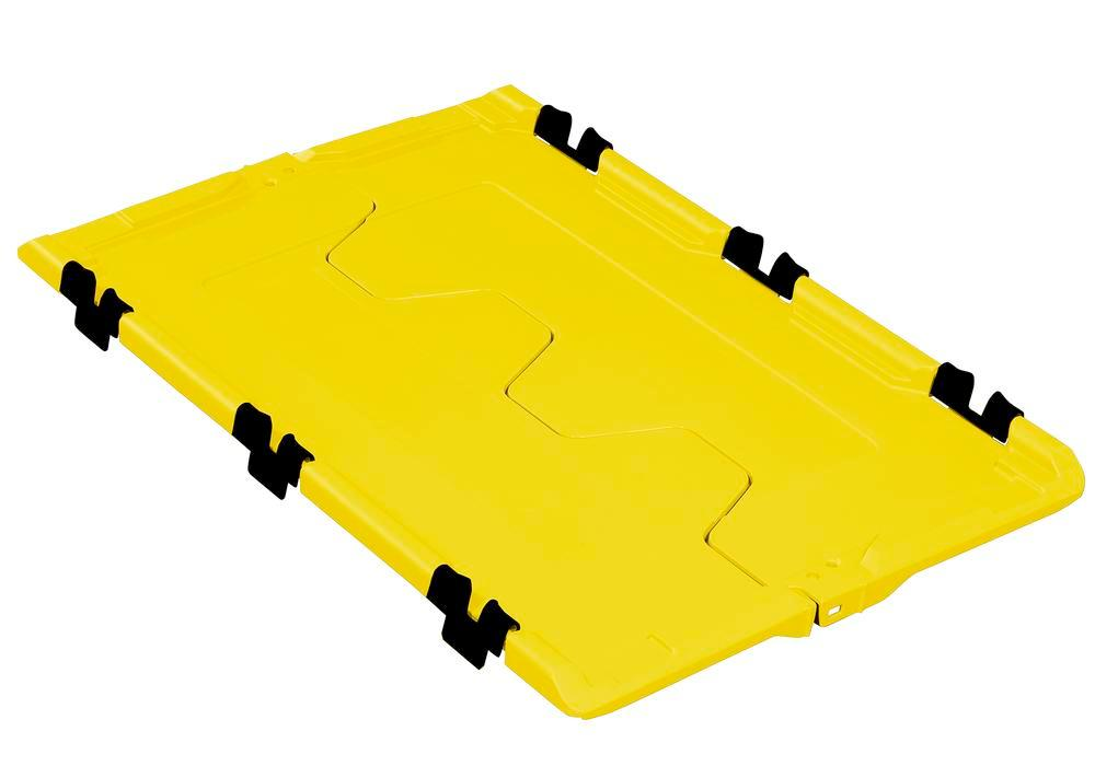 Folding lid for reusable stacking container classic-line D, 610 x 400 x 40 mm, yellow, Pack = 2 pcs