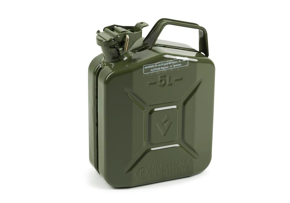 Fuel canister in steel, 5 litre volume, with UN approval