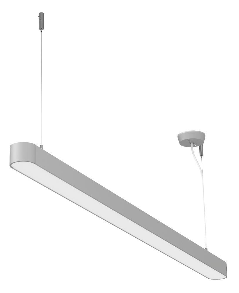 LED pendant lamp, Straight, silver, 37 W