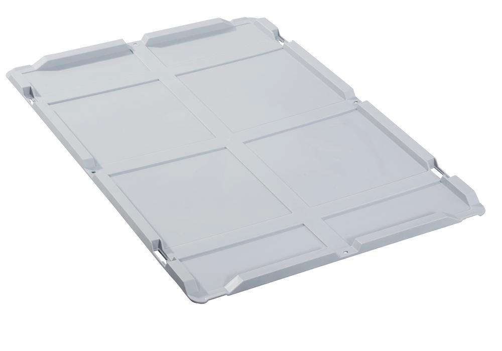 Lid for Euro container classic-line B , no locks, PP, 600 x 400 x 14 mm, grey