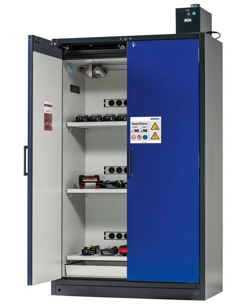 Lithium battery storage and charging cabinet SmartStore-UK, fire-rated, Model 123-L, 3 grids