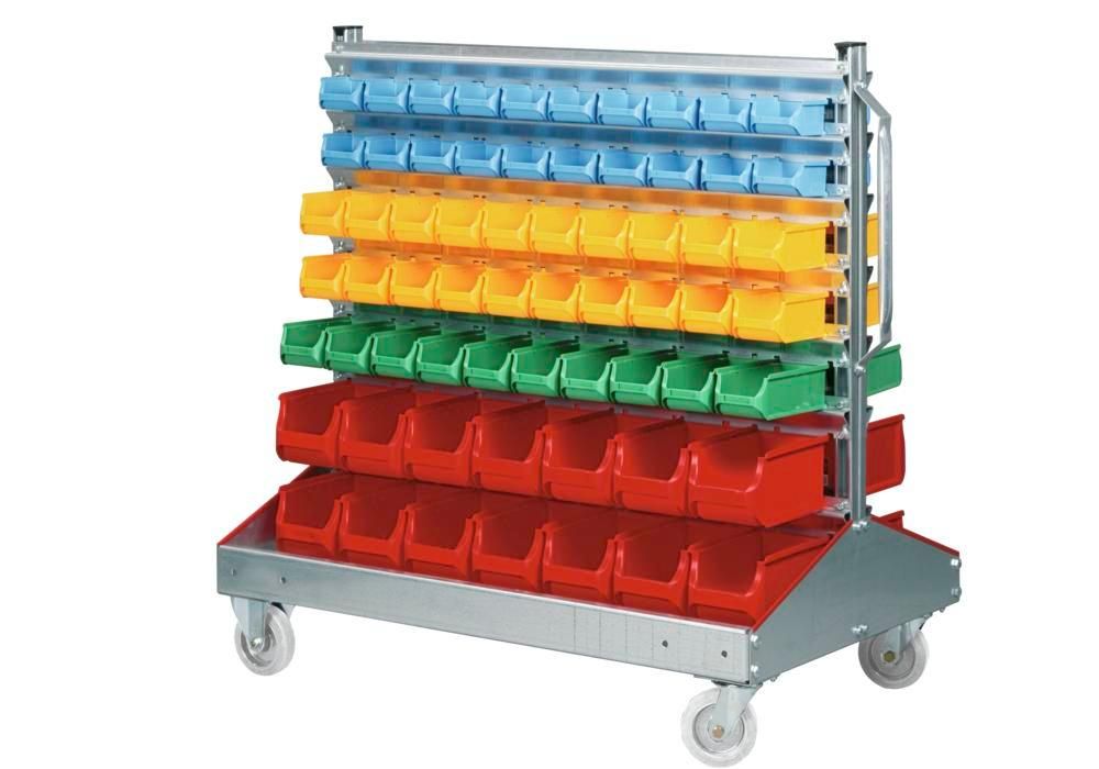 Mobile rack, both sides with 128 open-fronted storage bins pro-line A, height= 1160 mm