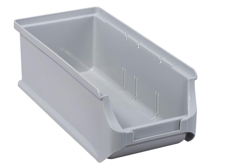 Open-fronted storage bins pro-line A2-L, PP, 100 x 215 x 75 mm, grey, Pack = 20 pcs.