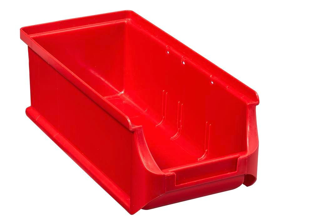 Open-fronted storage bins pro-line A2-L, PP, 100 x 215 x 75 mm, red, Pack = 20 pcs.