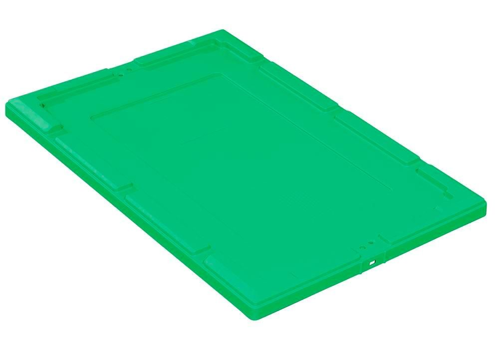 Snap-on lid for reusable stacking container classic-line D, 610 x 410 x 35 mm, green, Pack = 2 pcs