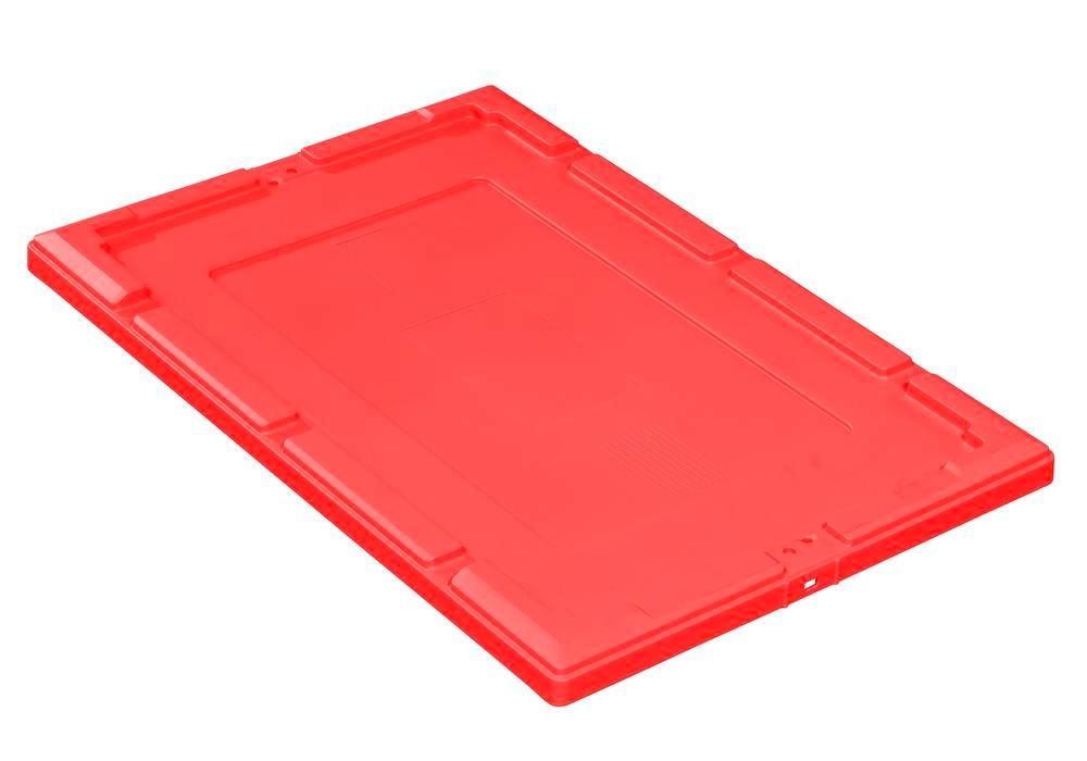 Snap-on lid for reusable stacking container classic-line D, 610 x 410 x 35 mm, red, Pack = 2 pcs