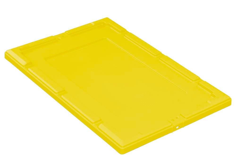 Snap-on lid for reusable stacking container classic-line D, 610 x 410 x 35 mm, yellow, Pack = 2 pcs