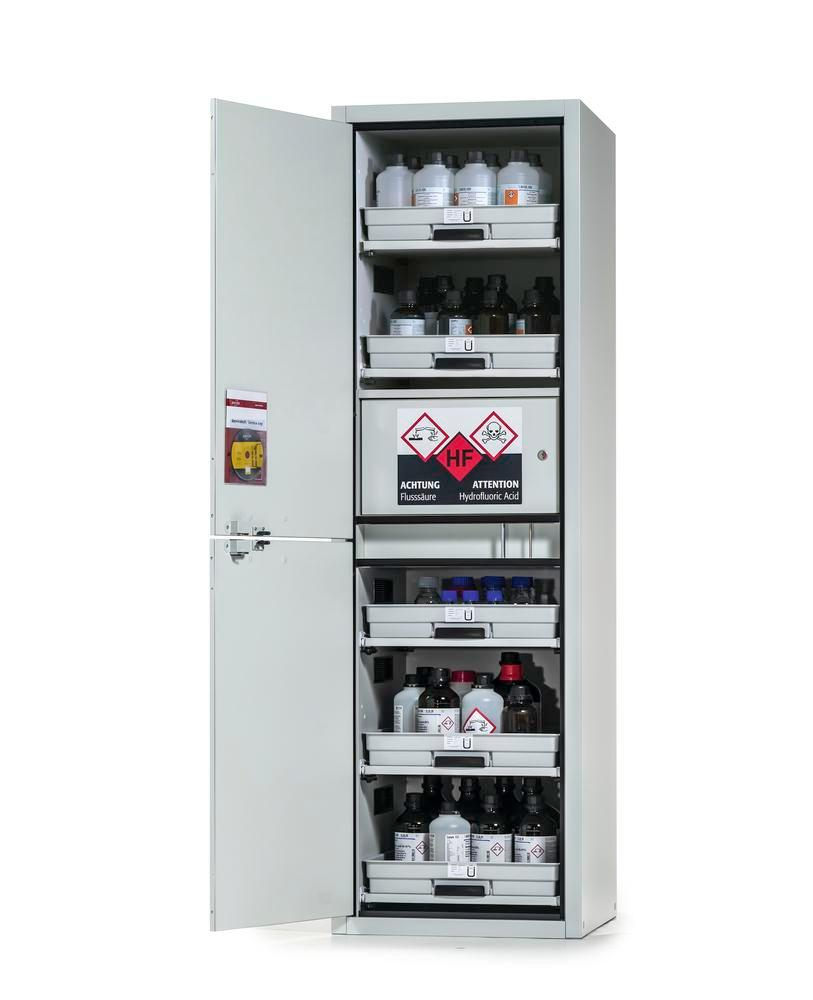 Acid and alkali cabinet SL-Plus, with 5 slide-out shelves, 1 hydrofluoric acid compartment,door left