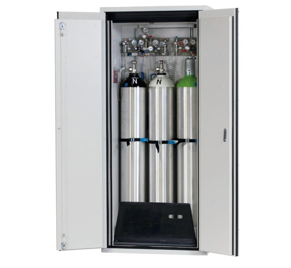 asecos fire-rated gas cylinder cabinet G90.9, 900 mm wide, 2-wing door, grey