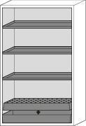 asecos fire-rated hazardous materials cabinet G 1201 with 3 shelves and wing doors, grey - 2