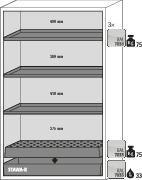 asecos fire-rated hazardous materials cabinet G 1201 with 3 shelves and wing doors, grey - 3