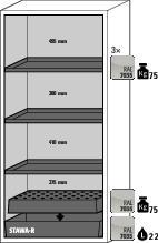 asecos fire-rated hazardous materials cabinet G 901 with 3 shelves, wing doors, grey - 6