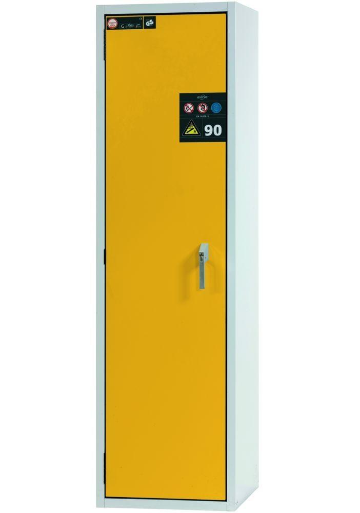 asecos Fire-resistant gas cylinder cabinet G90.6-2F, 600 mm wide, door opening right, grey/yellow
