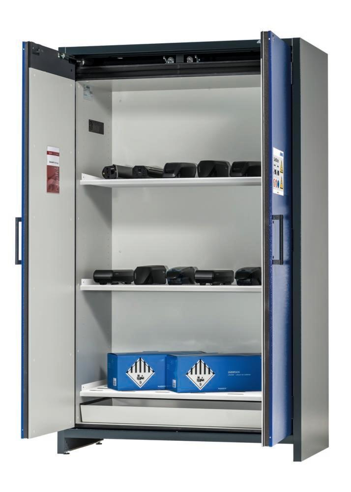 asecos Lithium-ion battery storage cabinet SafeStore, 3 shelves, W 1200 mm