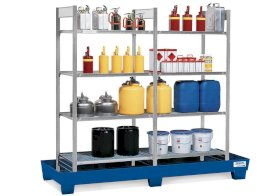 Containment shelving RPF 2060 for flammable substances, painted spill pallet, 8 galvanised grids-w280px