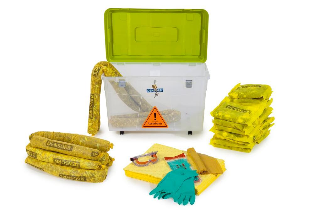 DENSORB Emergency Spill Kit in Transparent Box with castors, application SPECIAL - 12